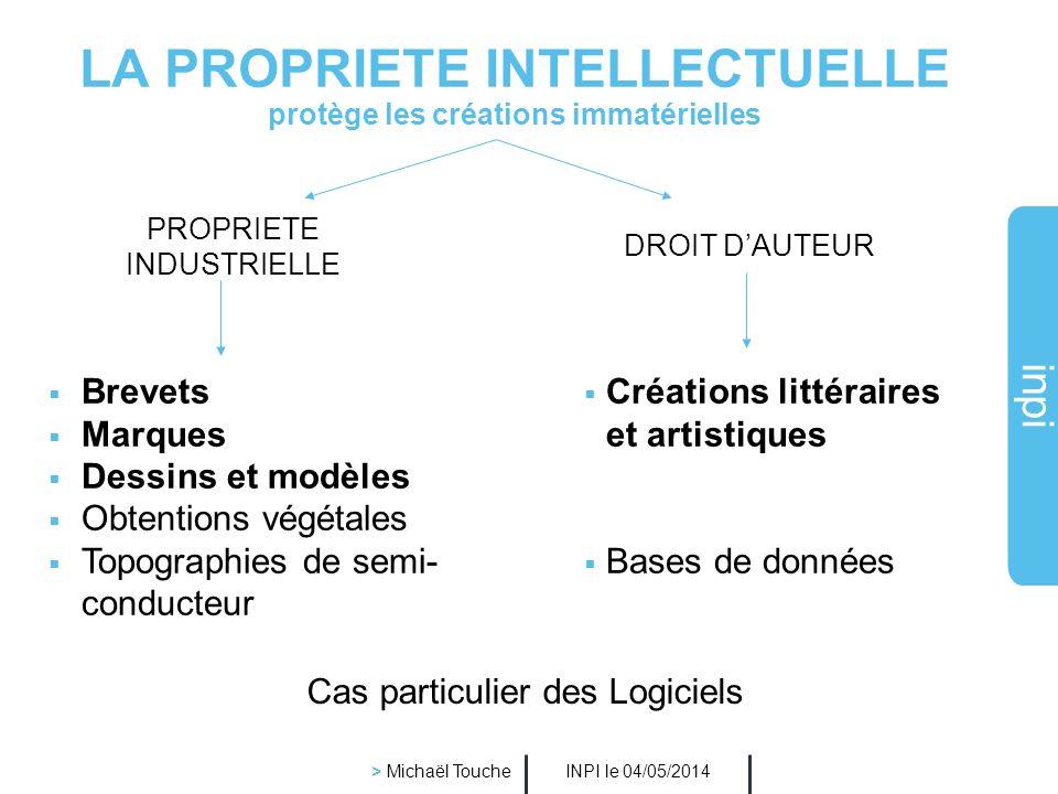 inpi INPI le 04/05/2014 > Michaël Touche Lintérêt des recherches de similarités Il est très important de les faire car la marque est : non seulement protégée contre une reproduction à l identique mais également contre une imitation sil y a un risque de confusion entre 2 marques qui ne sont pas identiques