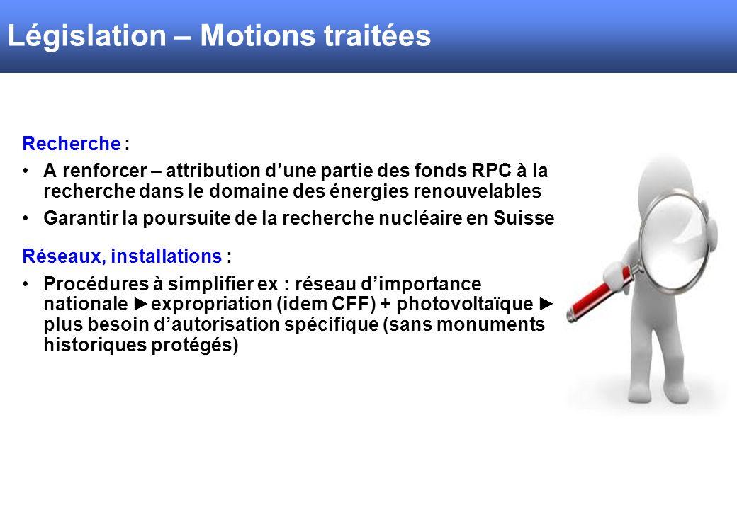 Législation – Motions traitées Recherche : A renforcer – attribution dune partie des fonds RPC à la recherche dans le domaine des énergies renouvelables Garantir la poursuite de la recherche nucléaire en Suisse.