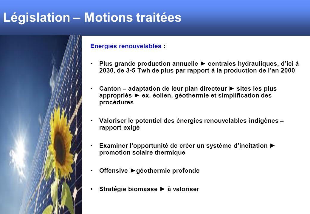 Législation – Motions traitées Energies renouvelables : Plus grande production annuelle centrales hydrauliques, dici à 2030, de 3-5 Twh de plus par rapport à la production de lan 2000 Canton – adaptation de leur plan directeur sites les plus appropriés ex.