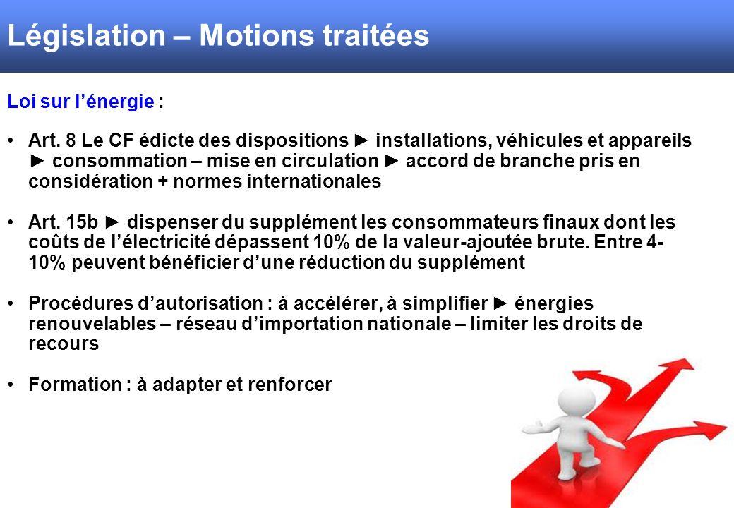 Loi sur lénergie : Art. 8 Le CF édicte des dispositions installations, véhicules et appareils consommation – mise en circulation accord de branche pri