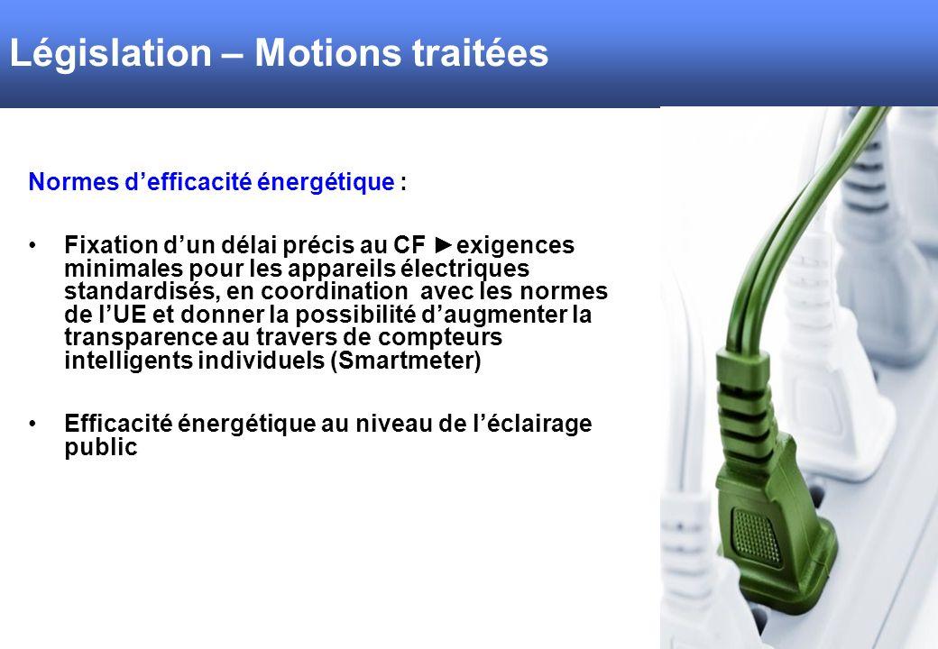 Normes defficacité énergétique : Fixation dun délai précis au CF exigences minimales pour les appareils électriques standardisés, en coordination avec