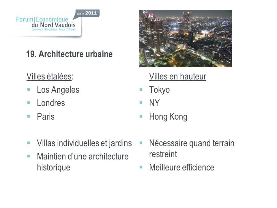 19. Architecture urbaine Villes étalées: Los Angeles Londres Paris Villas individuelles et jardins Maintien dune architecture historique Villes en hau