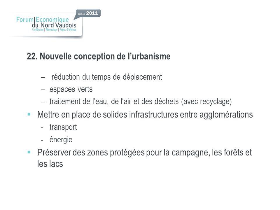 22. Nouvelle conception de lurbanisme – réduction du temps de déplacement –espaces verts –traitement de leau, de lair et des déchets (avec recyclage)