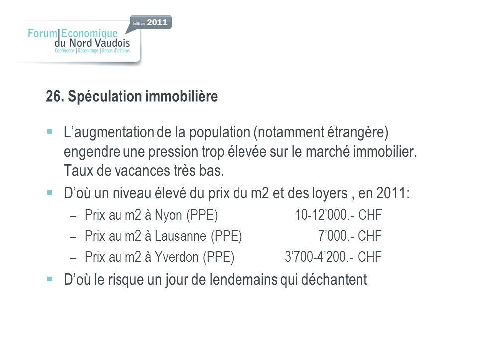 26. Spéculation immobilière Laugmentation de la population (notamment étrangère) engendre une pression trop élevée sur le marché immobilier. Taux de v