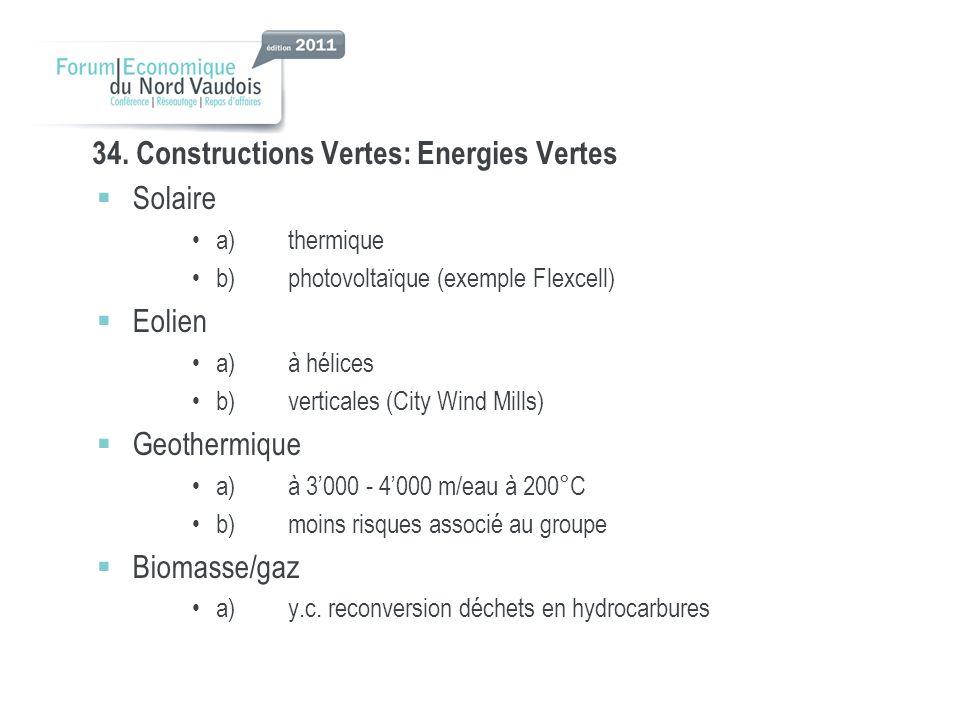 34. Constructions Vertes: Energies Vertes Solaire a)thermique b)photovoltaïque (exemple Flexcell) Eolien a)à hélices b)verticales (City Wind Mills) Ge