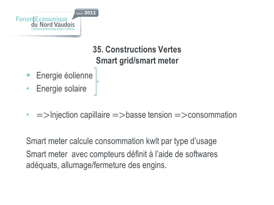 35. Constructions Vertes Smart grid/smart meter
