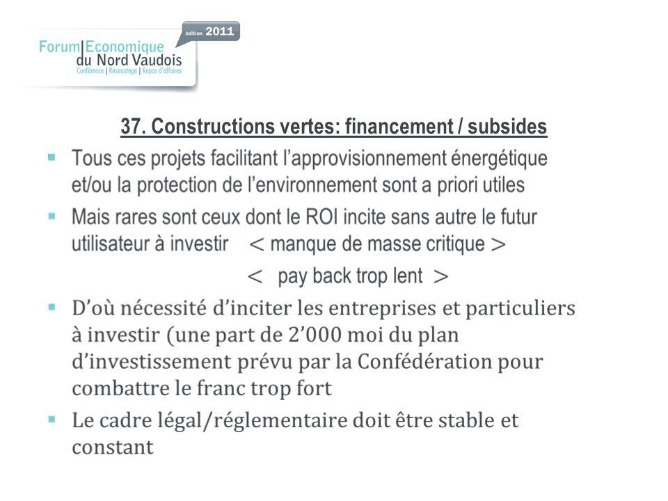 37. Constructions vertes: financement / subsides