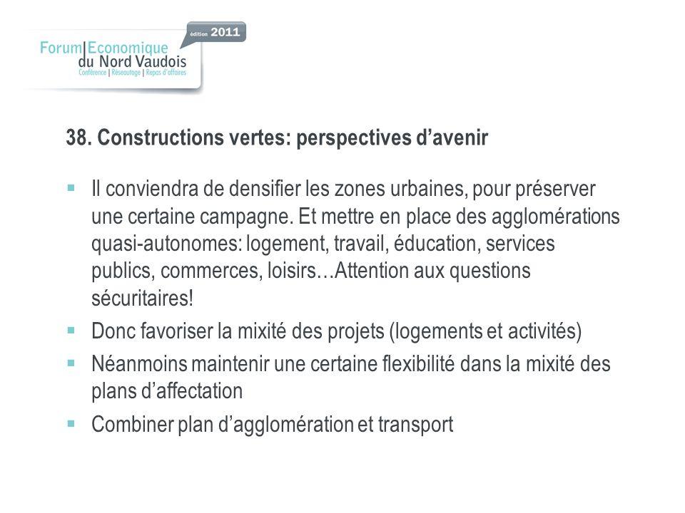 38. Constructions vertes: perspectives davenir Il conviendra de densifier les zones urbaines, pour préserver une certaine campagne. Et mettre en place