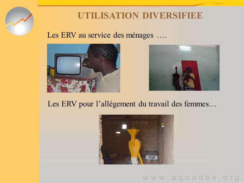 w w w. a q u a d e v. o r g UTILISATION DIVERSIFIEE Les ERV au service des ménages ….