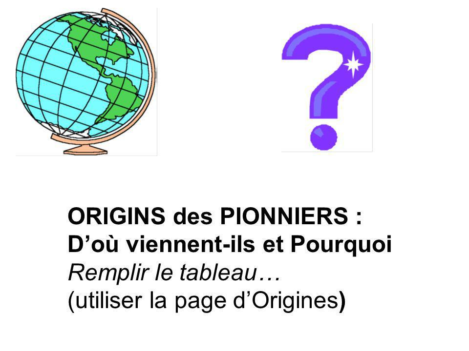 Peuple dorigine Africain _________________ _________________ _________________ 1628-1793; esclaves et dautres pionniers (lesclavage était aboli au Canada en 1793) Les années 1700 et 1800; réfugiés de lesclavage et de loppression 1790-1870; esclaves fugitifs (en 1830, il y avait une groupe de personnes appelée « Chemin Clandestin » - Underground Railroad » qui les aider à échapper au Canada.) AméricainsLes États- Unis1749-1812; en tant que ____________________ - beaucoup dorigines, religions et occupations différents – Premières Nations sont aussi dans ce groupe 1790-1812; pour _____________ libre et les chances économiques.