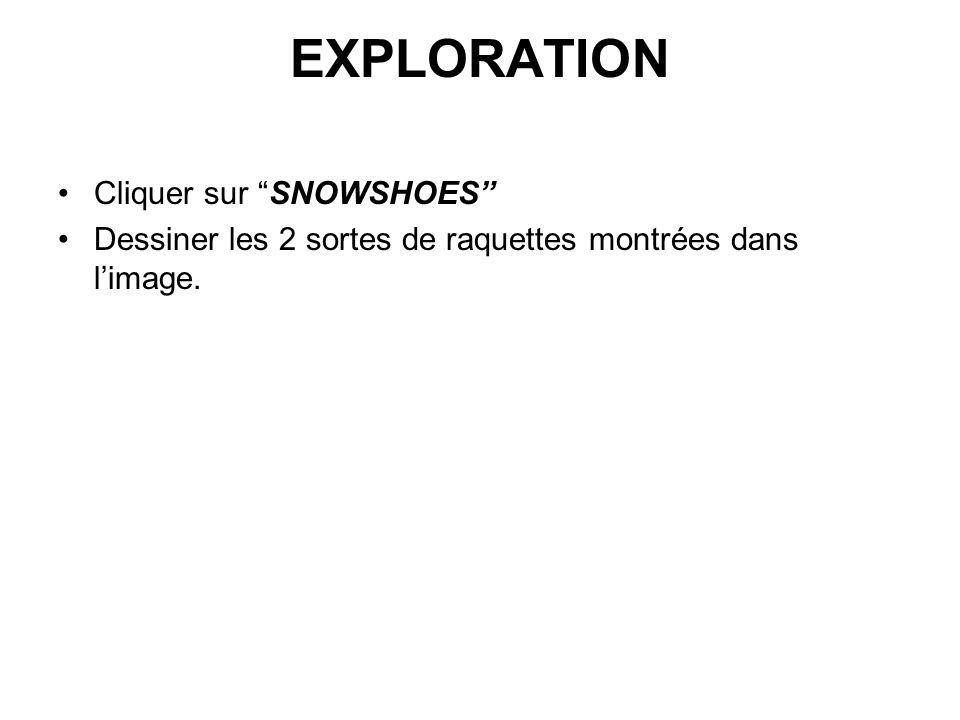 EXPLORATION Cliquer sur SNOWSHOES Dessiner les 2 sortes de raquettes montrées dans limage.