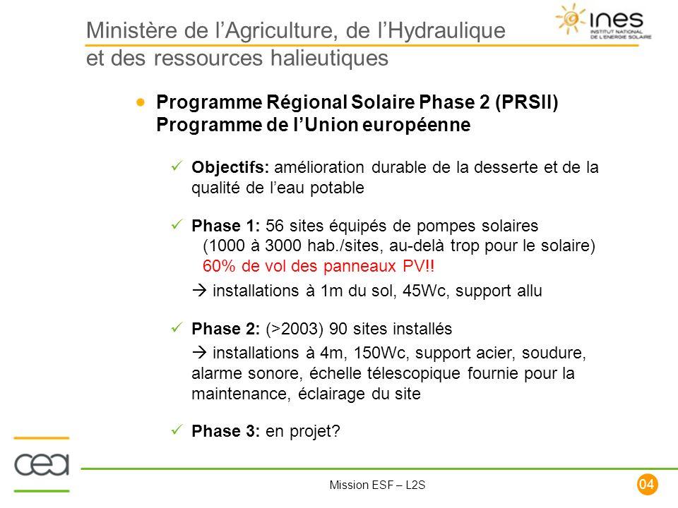 104 Mission ESF – L2S Ministère de lAgriculture, de lHydraulique et des ressources halieutiques Programme Régional Solaire Phase 2 (PRSII) Programme d