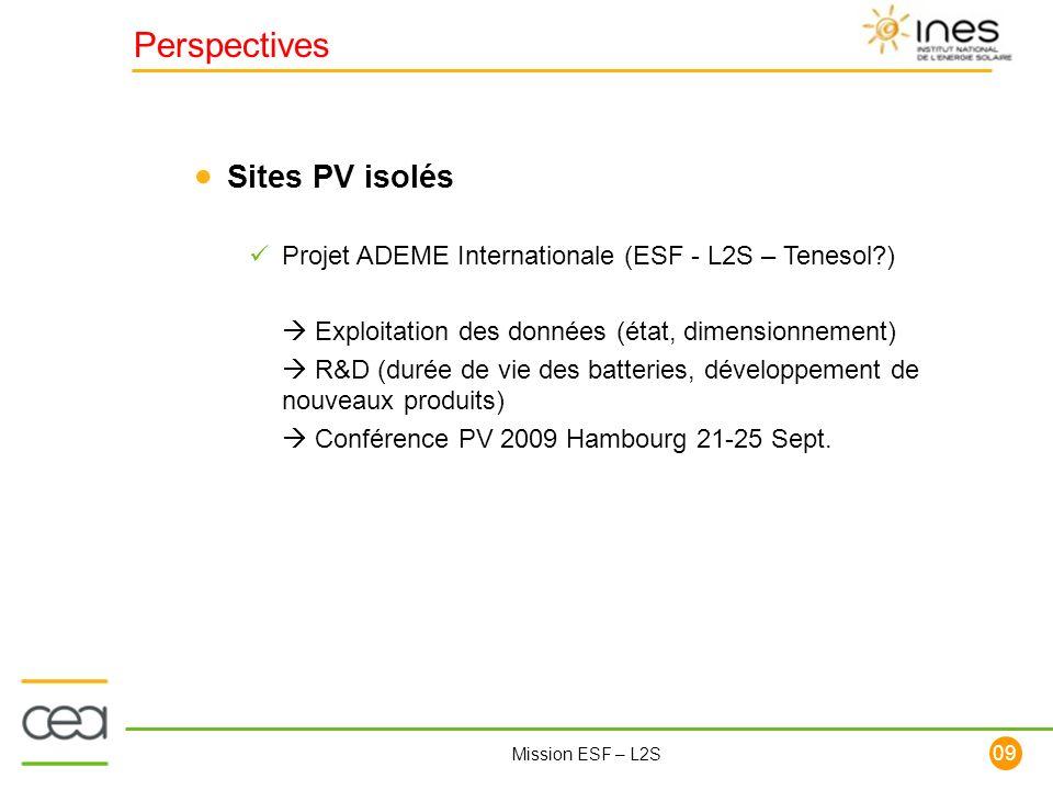 109 Mission ESF – L2S Perspectives Sites PV isolés Projet ADEME Internationale (ESF - L2S – Tenesol?) Exploitation des données (état, dimensionnement)