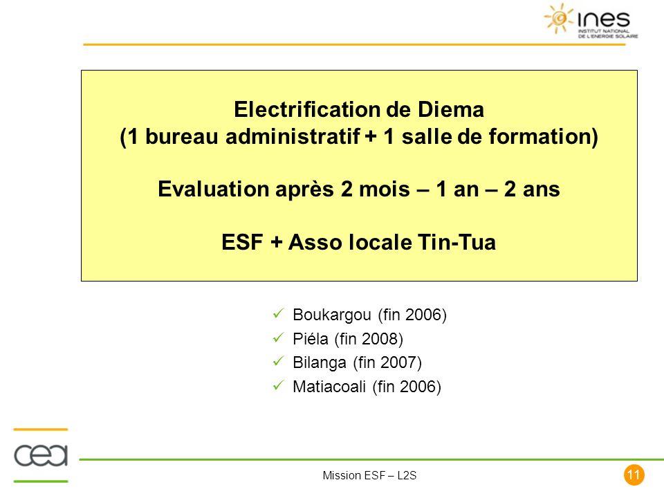 11 Mission ESF – L2S Electrification de Diema (1 bureau administratif + 1 salle de formation) Evaluation après 2 mois – 1 an – 2 ans ESF + Asso locale