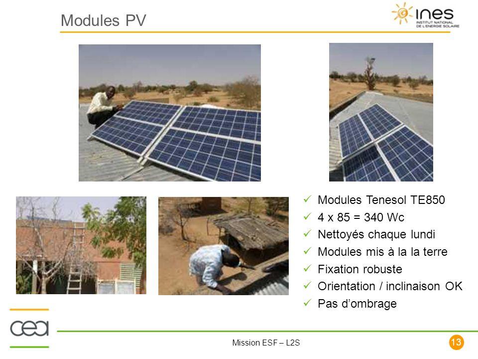 13 Mission ESF – L2S Modules PV Modules Tenesol TE850 4 x 85 = 340 Wc Nettoyés chaque lundi Modules mis à la la terre Fixation robuste Orientation / i