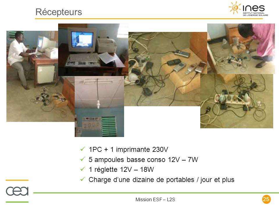 25 Mission ESF – L2S Récepteurs 1PC + 1 imprimante 230V 5 ampoules basse conso 12V – 7W 1 réglette 12V – 18W Charge dune dizaine de portables / jour e