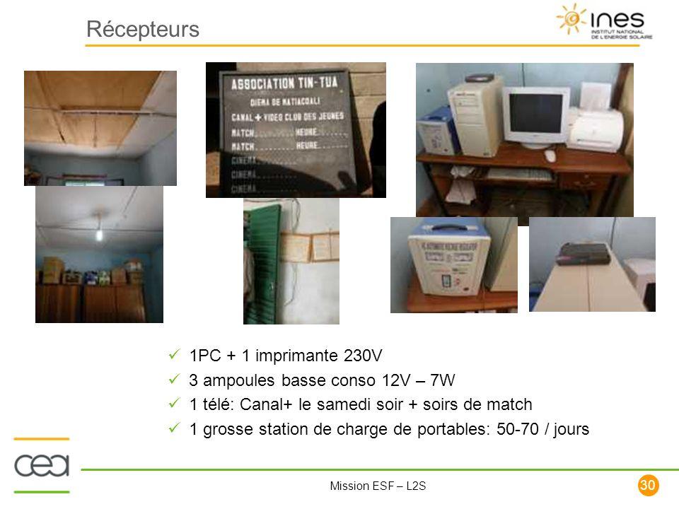 30 Mission ESF – L2S Récepteurs 1PC + 1 imprimante 230V 3 ampoules basse conso 12V – 7W 1 télé: Canal+ le samedi soir + soirs de match 1 grosse statio