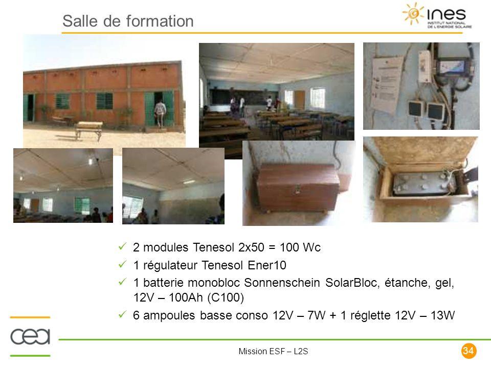 34 Mission ESF – L2S Salle de formation 2 modules Tenesol 2x50 = 100 Wc 1 régulateur Tenesol Ener10 1 batterie monobloc Sonnenschein SolarBloc, étanch