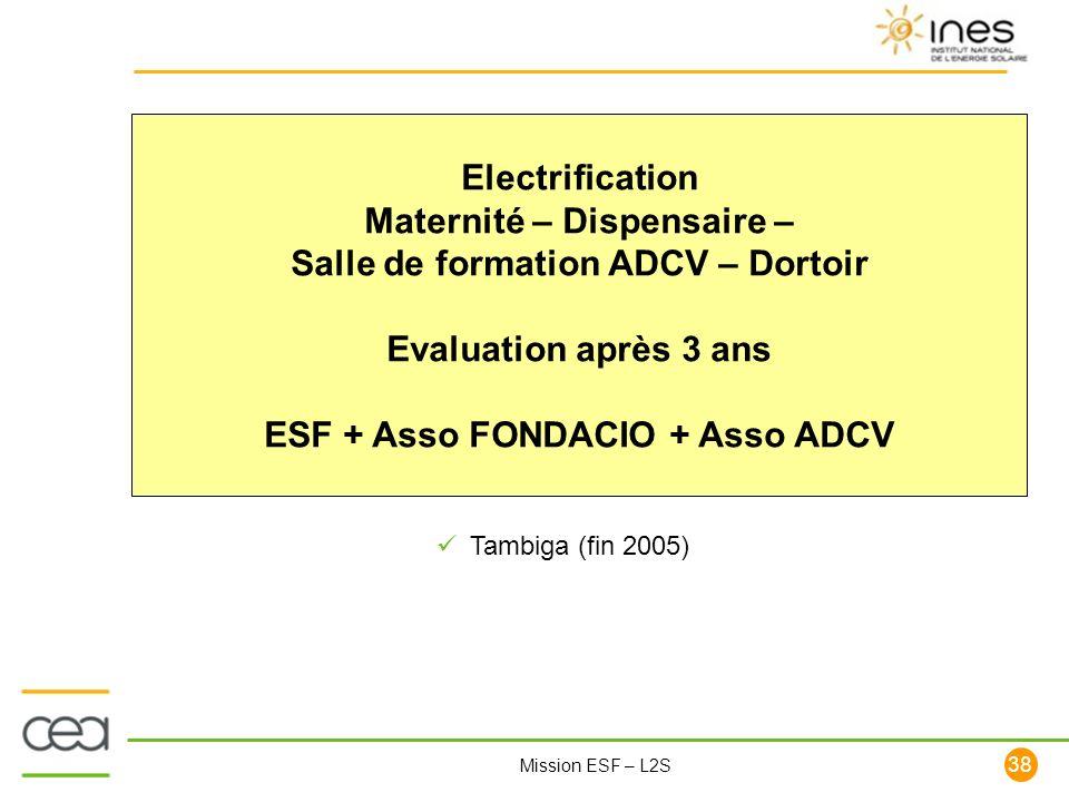 38 Mission ESF – L2S Electrification Maternité – Dispensaire – Salle de formation ADCV – Dortoir Evaluation après 3 ans ESF + Asso FONDACIO + Asso ADC