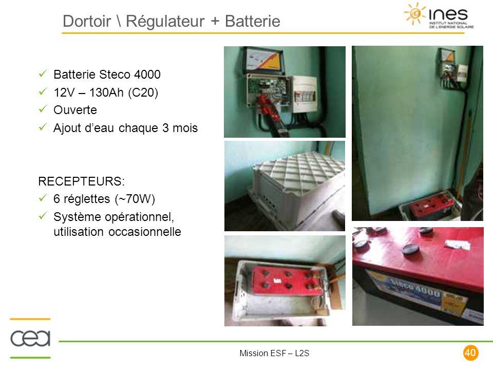 40 Mission ESF – L2S Dortoir \ Régulateur + Batterie Batterie Steco 4000 12V – 130Ah (C20) Ouverte Ajout deau chaque 3 mois RECEPTEURS: 6 réglettes (~