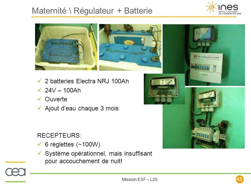 45 Mission ESF – L2S Maternité \ Régulateur + Batterie 2 batteries Electra NRJ 100Ah 24V – 100Ah Ouverte Ajout deau chaque 3 mois RECEPTEURS: 6 réglet
