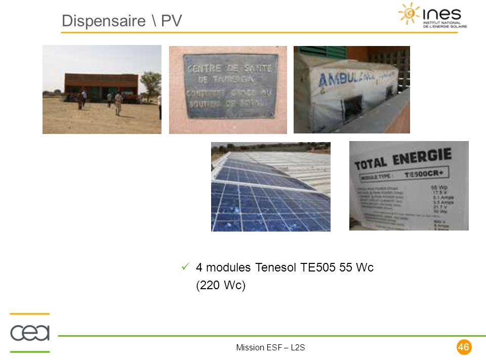 46 Mission ESF – L2S Dispensaire \ PV 4 modules Tenesol TE505 55 Wc (220 Wc)