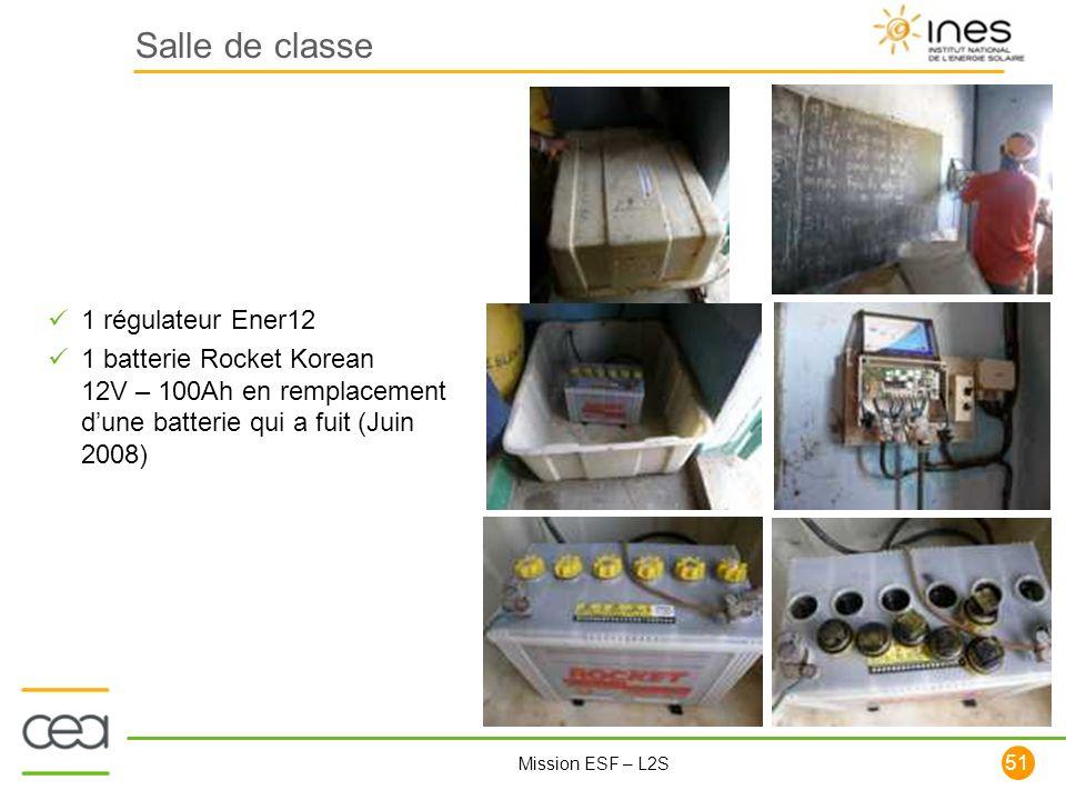 51 Mission ESF – L2S Salle de classe 1 régulateur Ener12 1 batterie Rocket Korean 12V – 100Ah en remplacement dune batterie qui a fuit (Juin 2008)