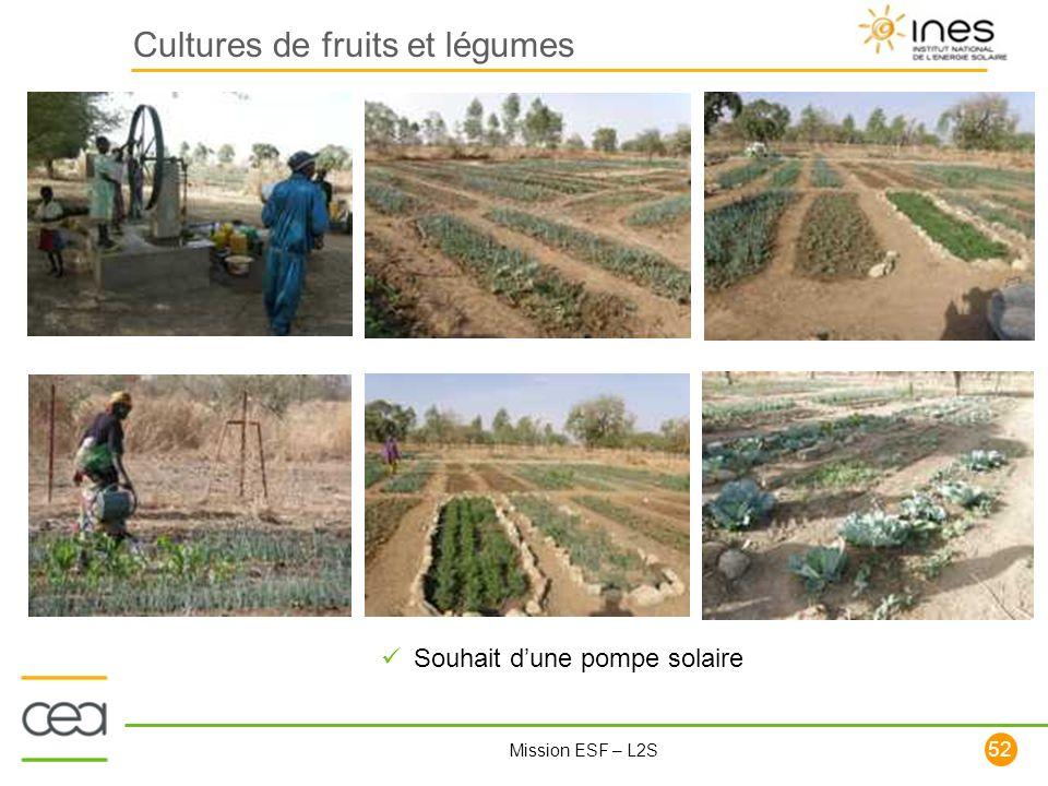 52 Mission ESF – L2S Cultures de fruits et légumes Souhait dune pompe solaire