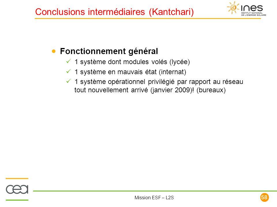 58 Mission ESF – L2S Conclusions intermédiaires (Kantchari) Fonctionnement général 1 système dont modules volés (lycée) 1 système en mauvais état (int