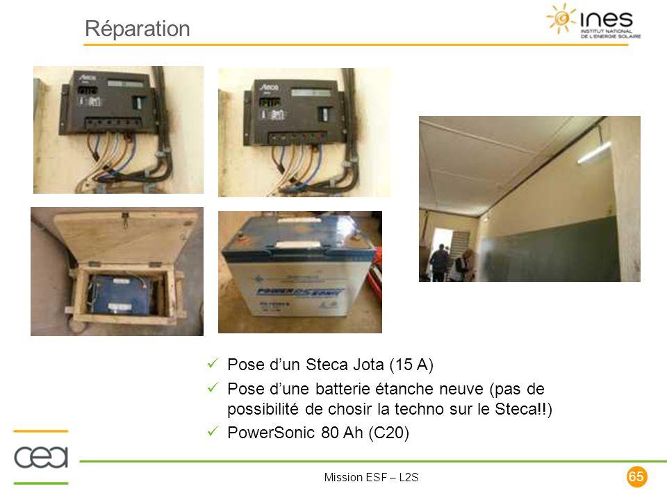 65 Mission ESF – L2S Réparation Pose dun Steca Jota (15 A) Pose dune batterie étanche neuve (pas de possibilité de chosir la techno sur le Steca!!) Po