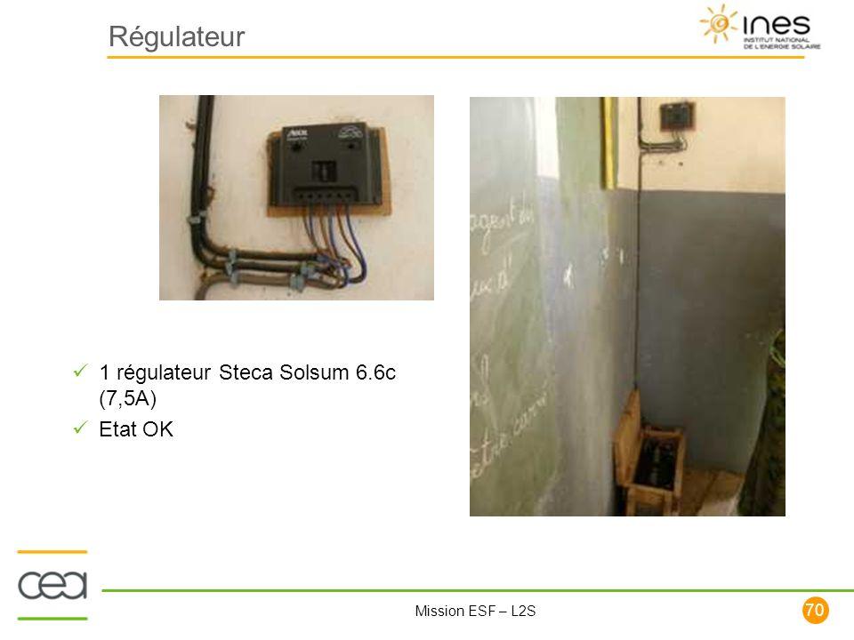 70 Mission ESF – L2S Régulateur 1 régulateur Steca Solsum 6.6c (7,5A) Etat OK