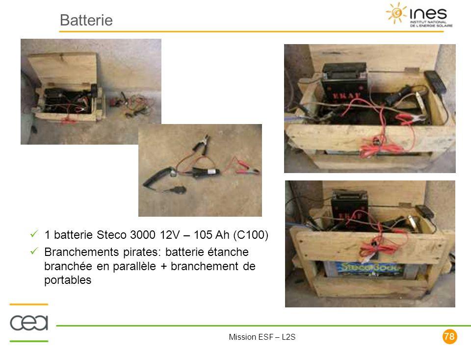 78 Mission ESF – L2S Batterie 1 batterie Steco 3000 12V – 105 Ah (C100) Branchements pirates: batterie étanche branchée en parallèle + branchement de