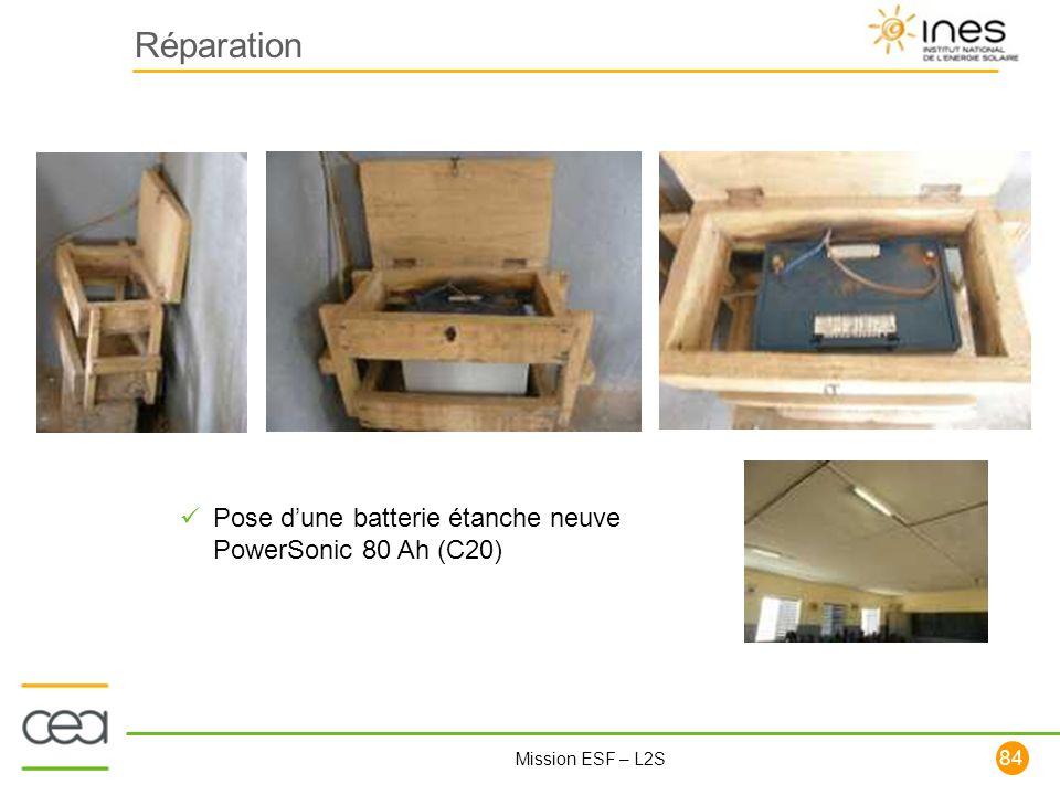 84 Mission ESF – L2S Réparation Pose dune batterie étanche neuve PowerSonic 80 Ah (C20)