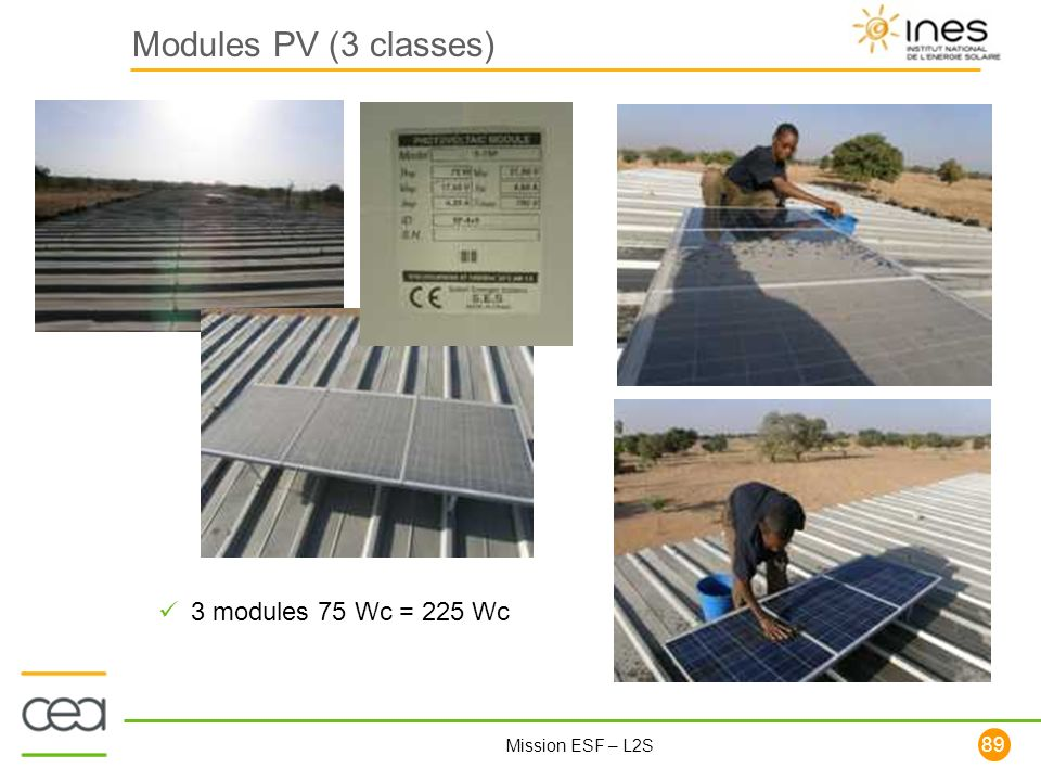 89 Mission ESF – L2S Modules PV (3 classes) 3 modules 75 Wc = 225 Wc
