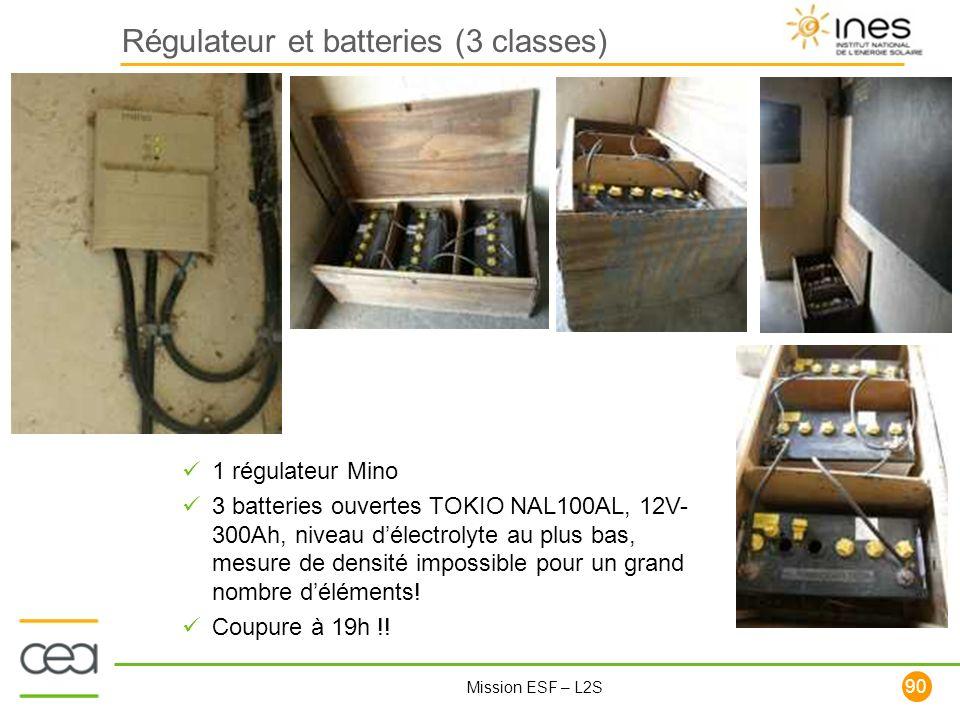 90 Mission ESF – L2S Régulateur et batteries (3 classes) 1 régulateur Mino 3 batteries ouvertes TOKIO NAL100AL, 12V- 300Ah, niveau délectrolyte au plu