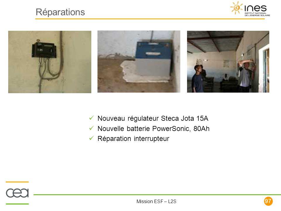 97 Mission ESF – L2S Réparations Nouveau régulateur Steca Jota 15A Nouvelle batterie PowerSonic, 80Ah Réparation interrupteur