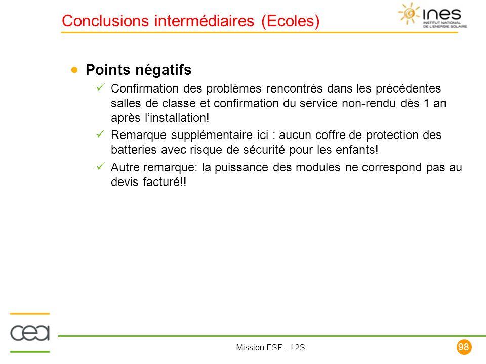 98 Mission ESF – L2S Points négatifs Confirmation des problèmes rencontrés dans les précédentes salles de classe et confirmation du service non-rendu