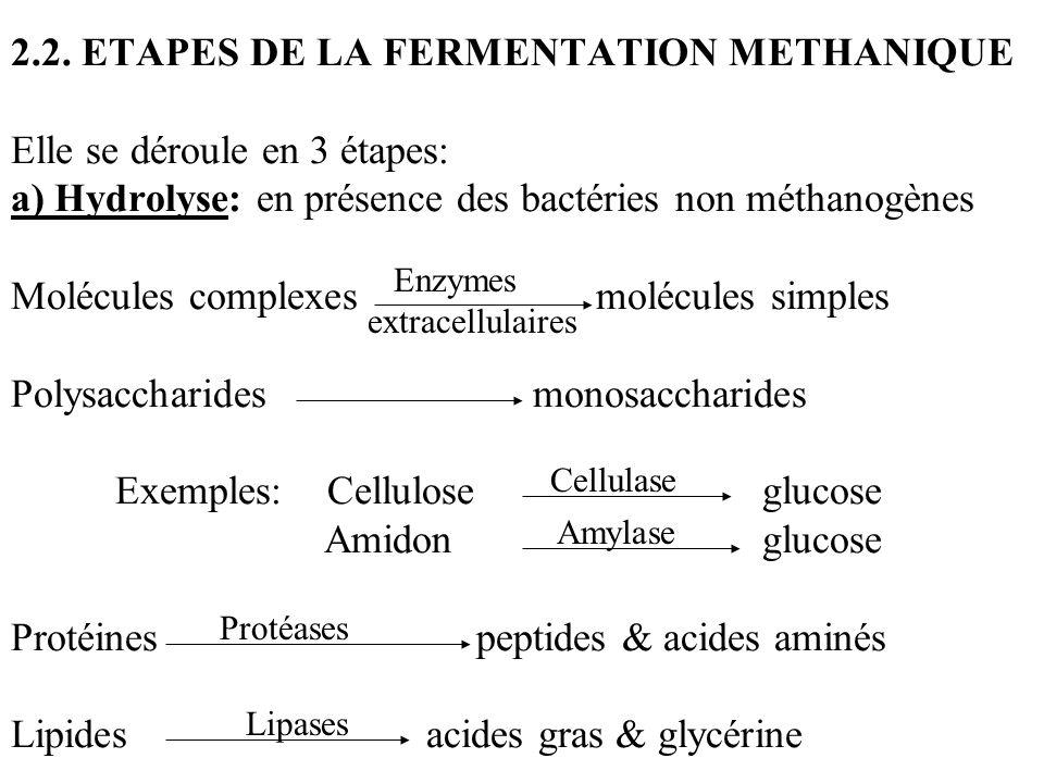 2.2. ETAPES DE LA FERMENTATION METHANIQUE Elle se déroule en 3 étapes: a) Hydrolyse: en présence des bactéries non méthanogènes Molécules complexes mo
