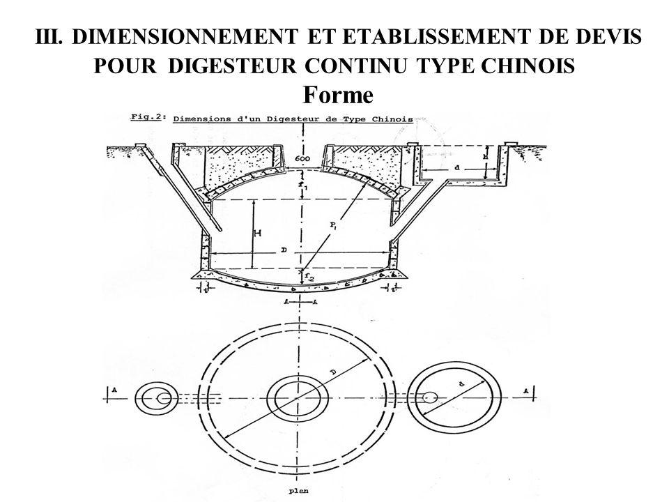 III. DIMENSIONNEMENT ET ETABLISSEMENT DE DEVIS POUR DIGESTEUR CONTINU TYPE CHINOIS Forme