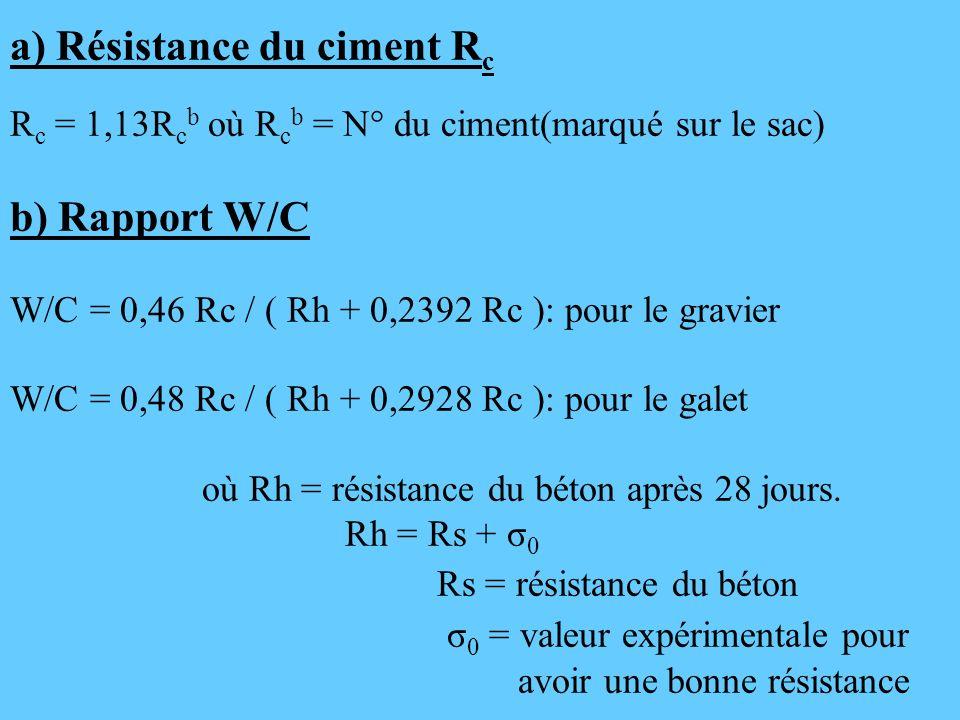 a) Résistance du ciment R c R c = 1,13R c b où R c b = N° du ciment(marqué sur le sac) b) Rapport W/C W/C = 0,46 Rc / ( Rh + 0,2392 Rc ): pour le grav