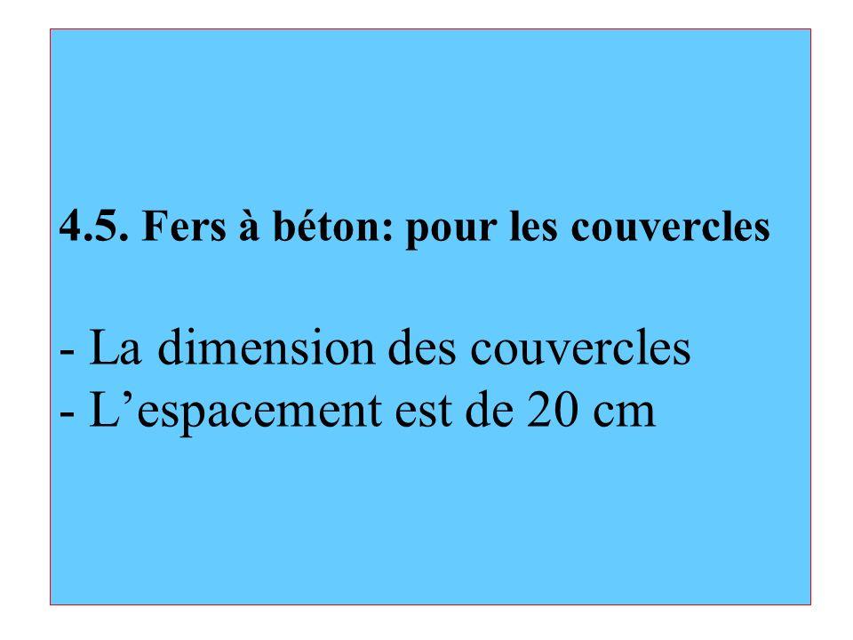 4.5. Fers à béton: pour les couvercles - La dimension des couvercles - Lespacement est de 20 cm
