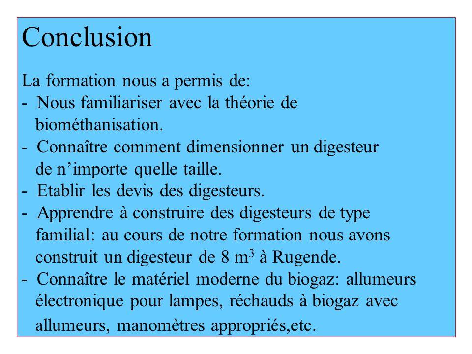 Conclusion La formation nous a permis de: - Nous familiariser avec la théorie de biométhanisation. - Connaître comment dimensionner un digesteur de ni