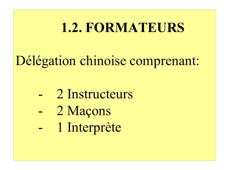 1.2. FORMATEURS Délégation chinoise comprenant: - 2 Instructeurs - 2 Maçons - 1 Interprète
