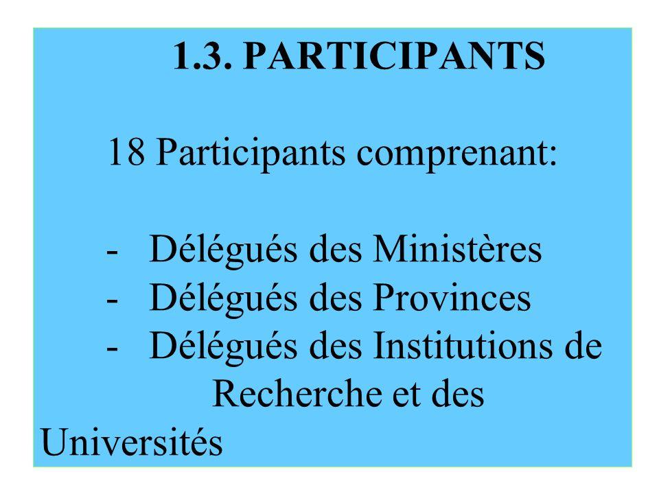 1.3. PARTICIPANTS 18 Participants comprenant: - Délégués des Ministères - Délégués des Provinces - Délégués des Institutions de Recherche et des Unive