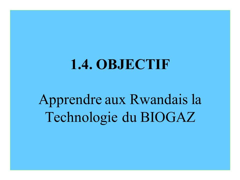 1.4. OBJECTIF Apprendre aux Rwandais la Technologie du BIOGAZ