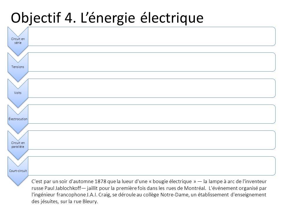 Objectif 4. Lénergie électrique Circuit en série TensionsVoltsÉlectrocution Circuit en parallèle Court-circuit C'est par un soir d'automne 1878 que la