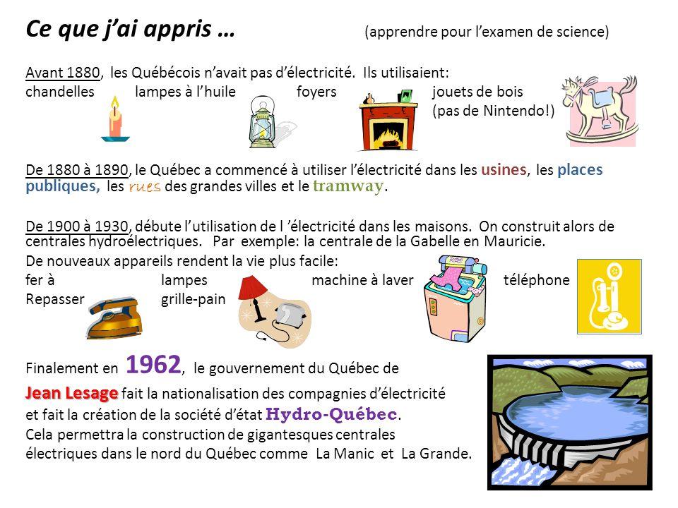 Ce que jai appris … (apprendre pour lexamen de science) Avant 1880, les Québécois navait pas délectricité. Ils utilisaient: chandelles lampes à lhuile