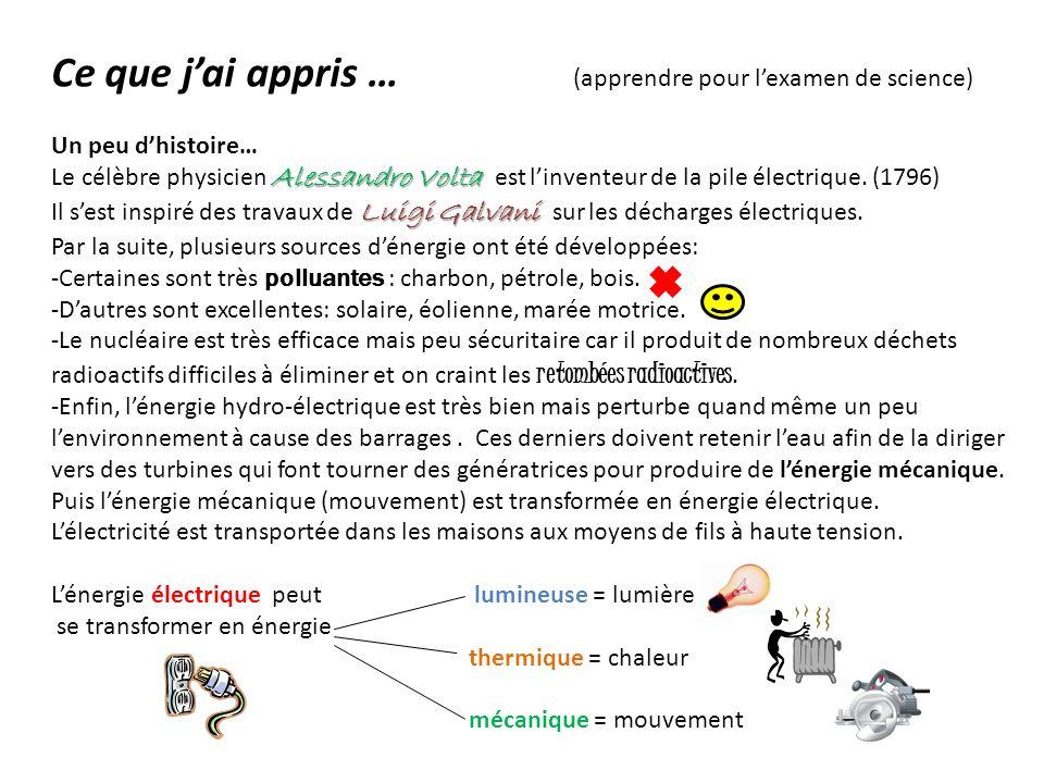 Ce que jai appris … (apprendre pour lexamen de science) Un peu dhistoire… Alessandro Volta Le célèbre physicien Alessandro Volta est linventeur de la pile électrique.