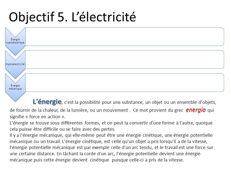 Objectif 5. Lélectricité Énergie hydroélectrique Hydroélectricité Énergie mécanique L'énergie energia L'énergie, c'est la possibilité pour une substan