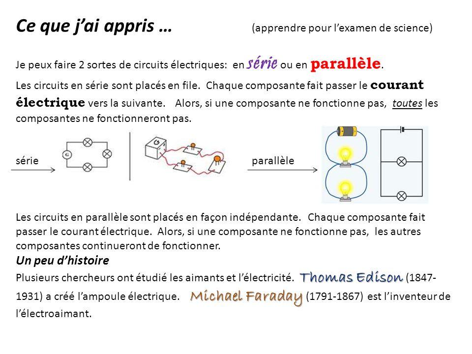 Ce que jai appris … (apprendre pour lexamen de science) Je peux faire 2 sortes de circuits électriques: en série ou en parallèle. Les circuits en séri